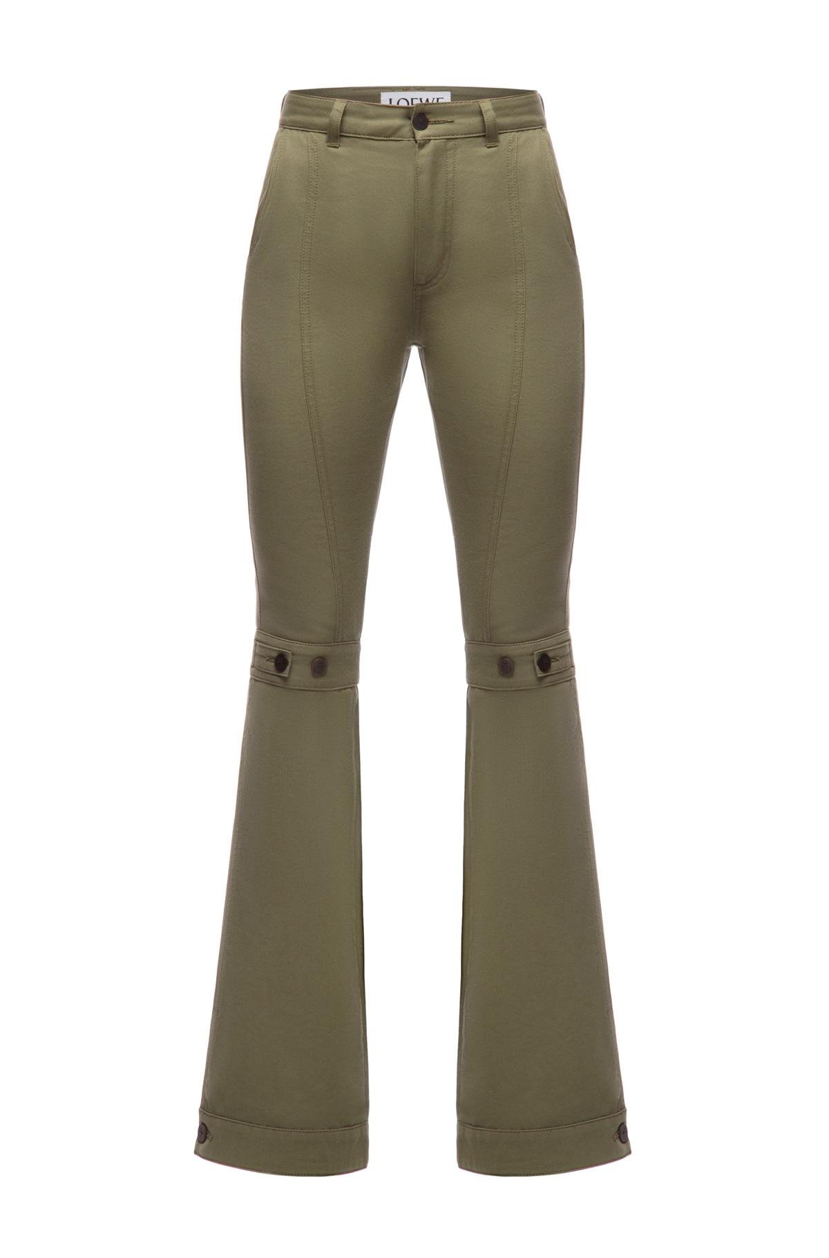 LOEWE Flare Trousers Verde Kaki front