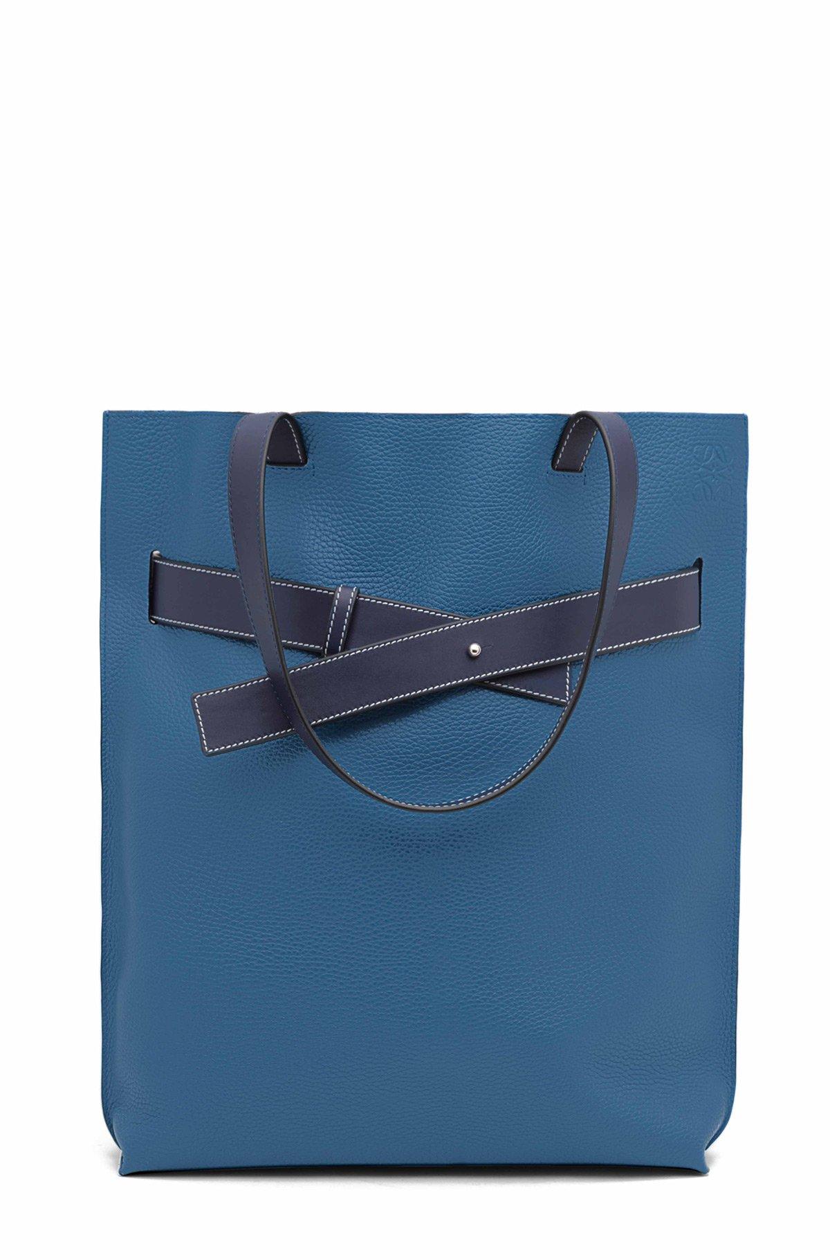 LOEWE Strap Vertical Tote Bag Duke Blue/Marine front