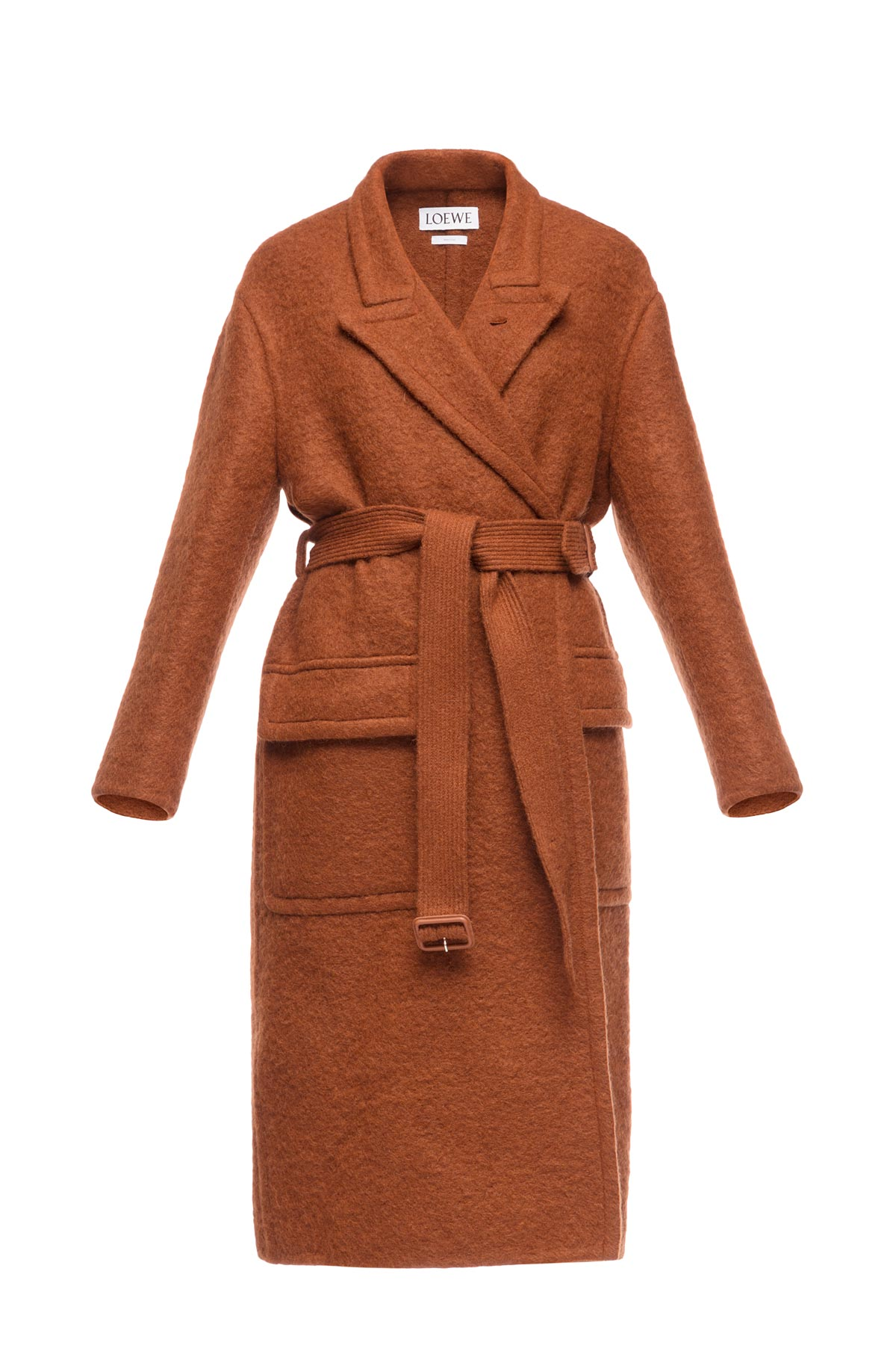 LOEWE Belted Coat Brown front