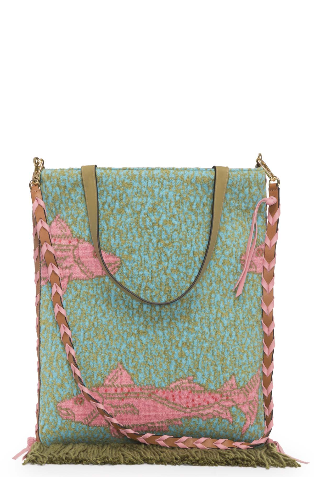 LOEWE Vertical Tote Fishes Bag Green/Tan front