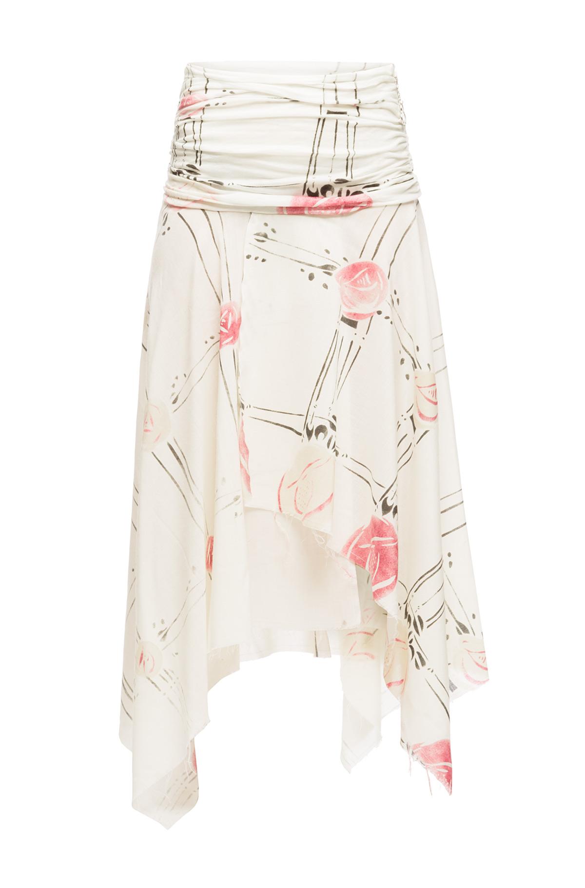 LOEWE Asymmetric Skirt Roses Ecru/Multicolor front