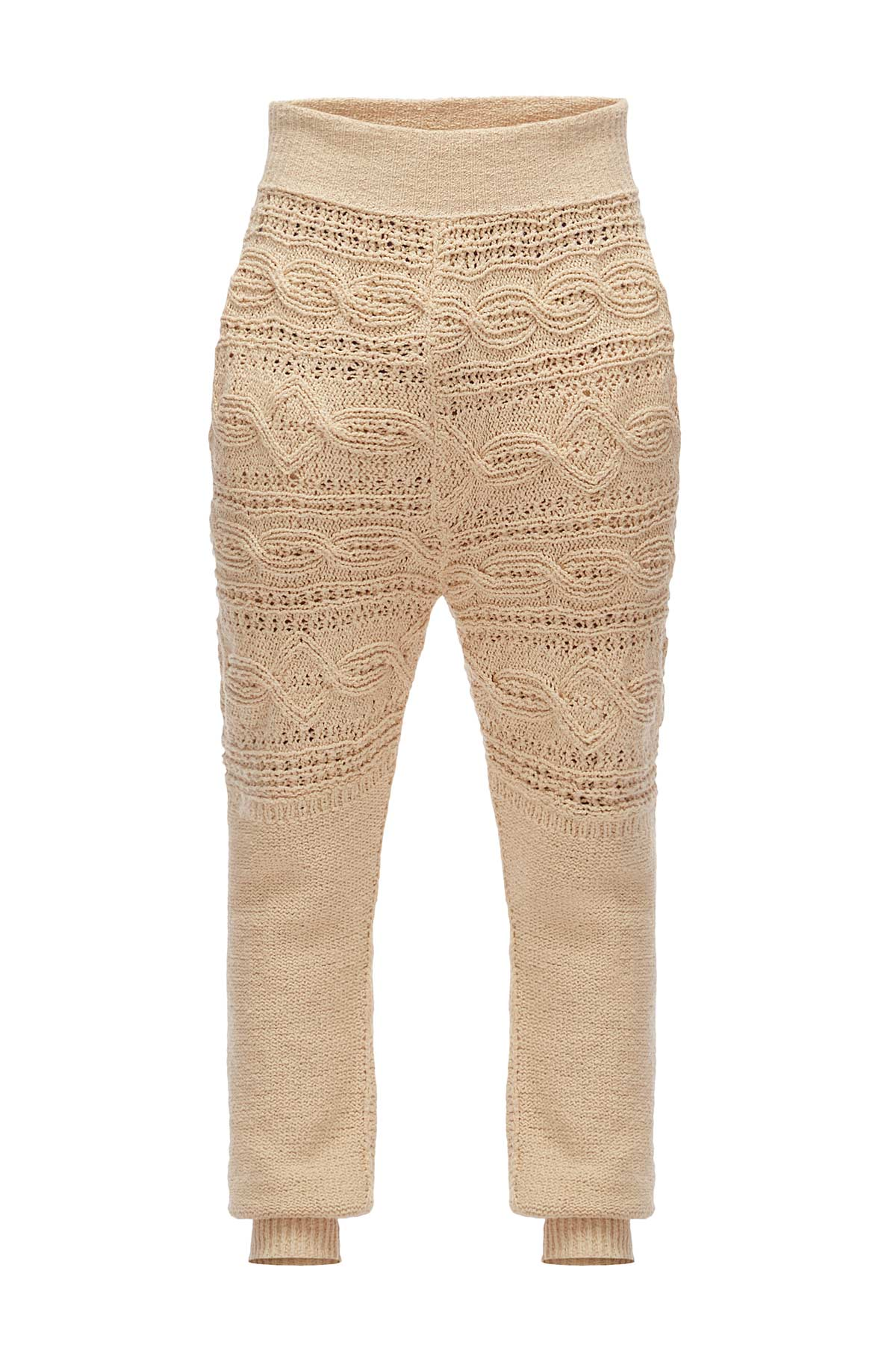 LOEWE Cable Knit Trousers ベージュ front