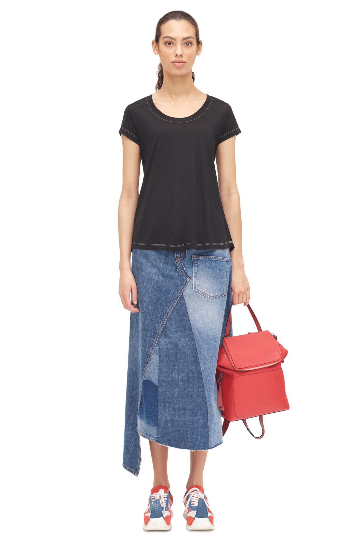 LOEWE Denim Patchwork Skirt Blue Denim front