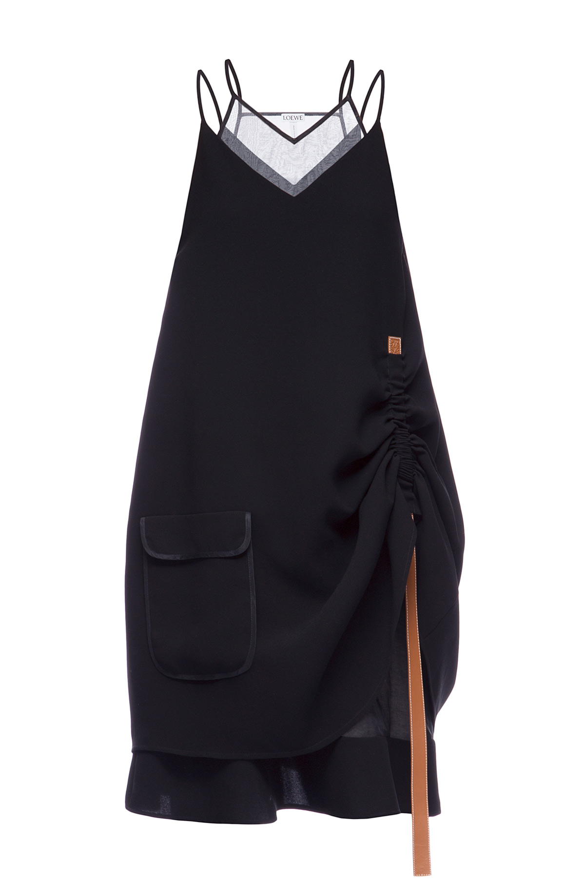 LOEWE Trapeze Dress Leather Strap Black front