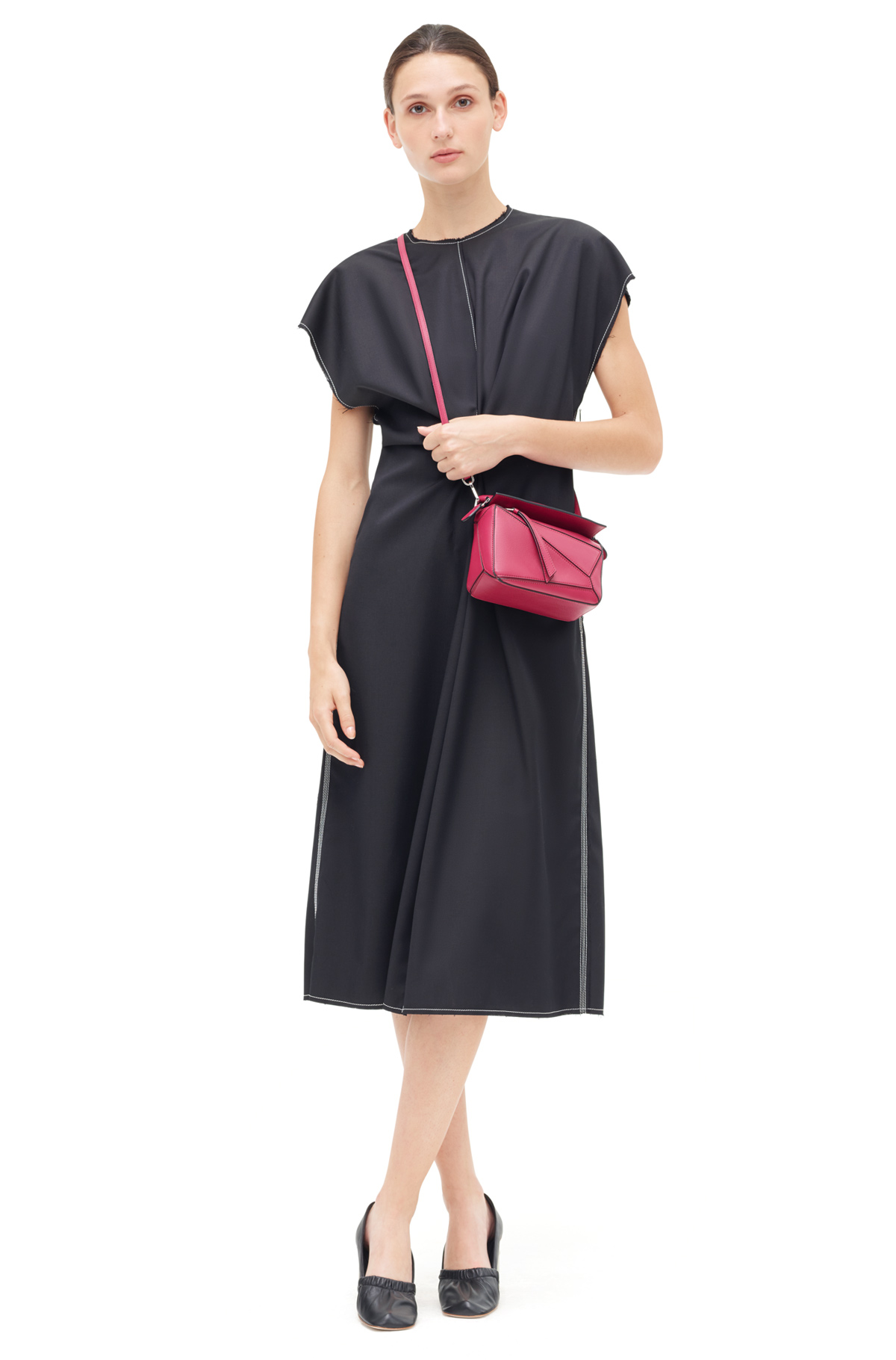 LOEWE Draped Dress Black front