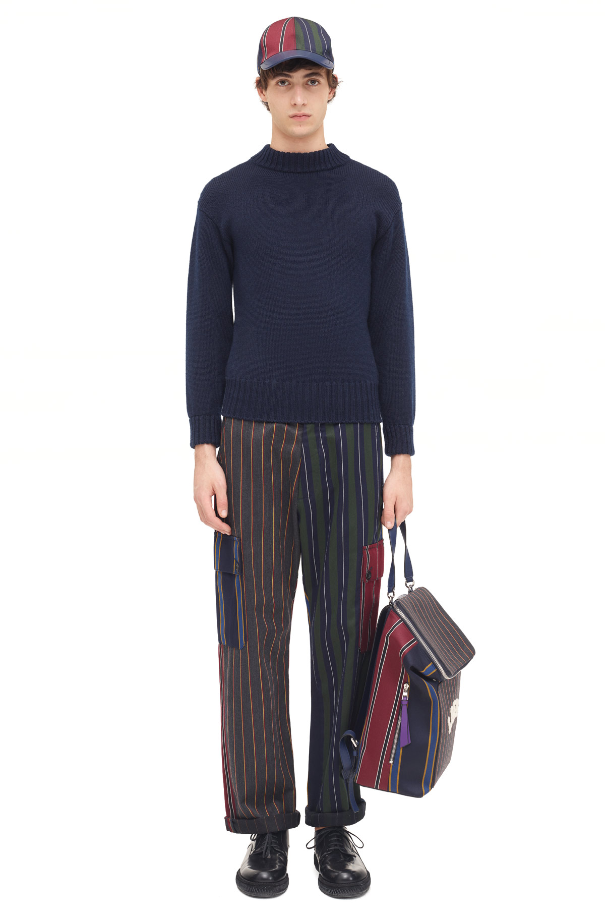 LOEWE Patchwrk Stripe Cargo Trousers Multicolor front