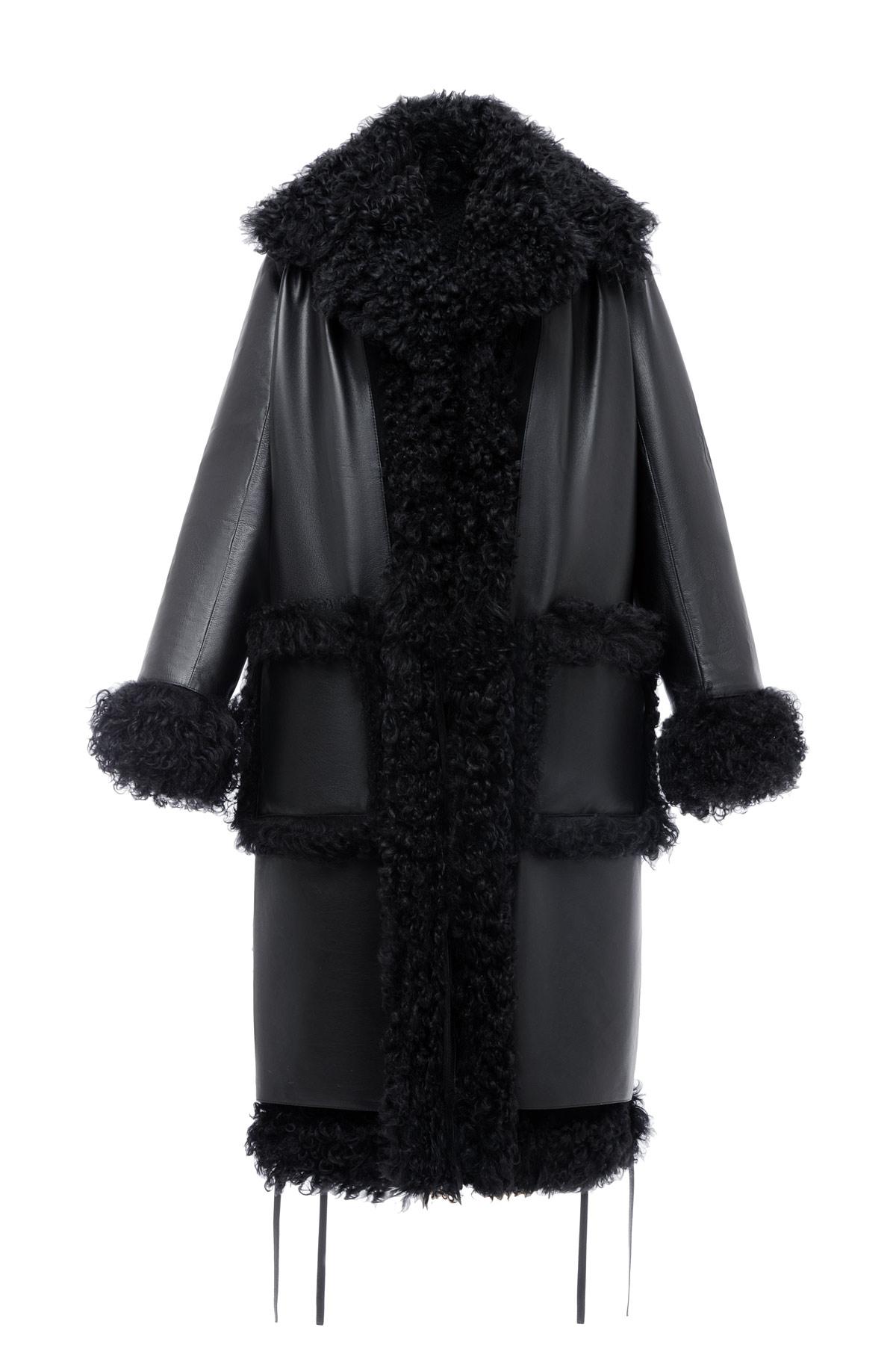 LOEWE シアリングコート ブラック front