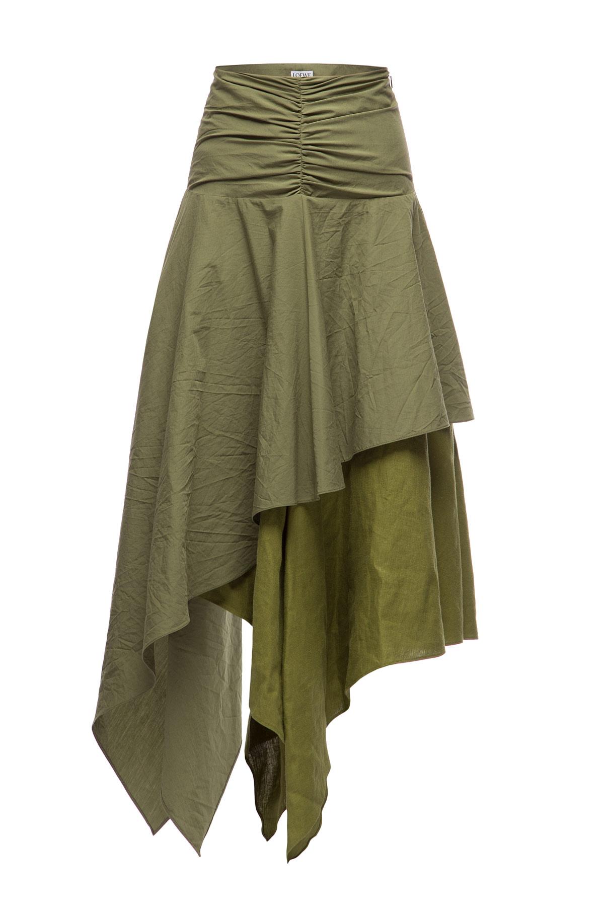 LOEWE Asymmetric Skirt Verde Kaki front