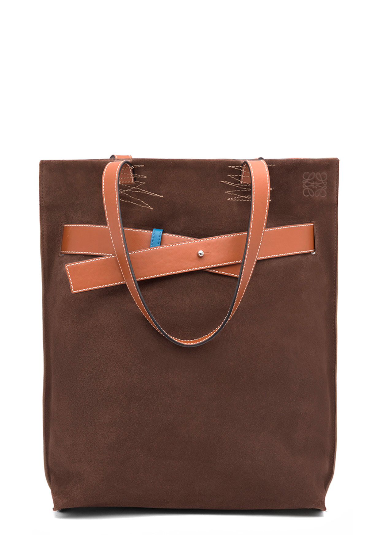 LOEWE Strap Vertical Tote Bag Choc Brown/Khaki Green/Tan front