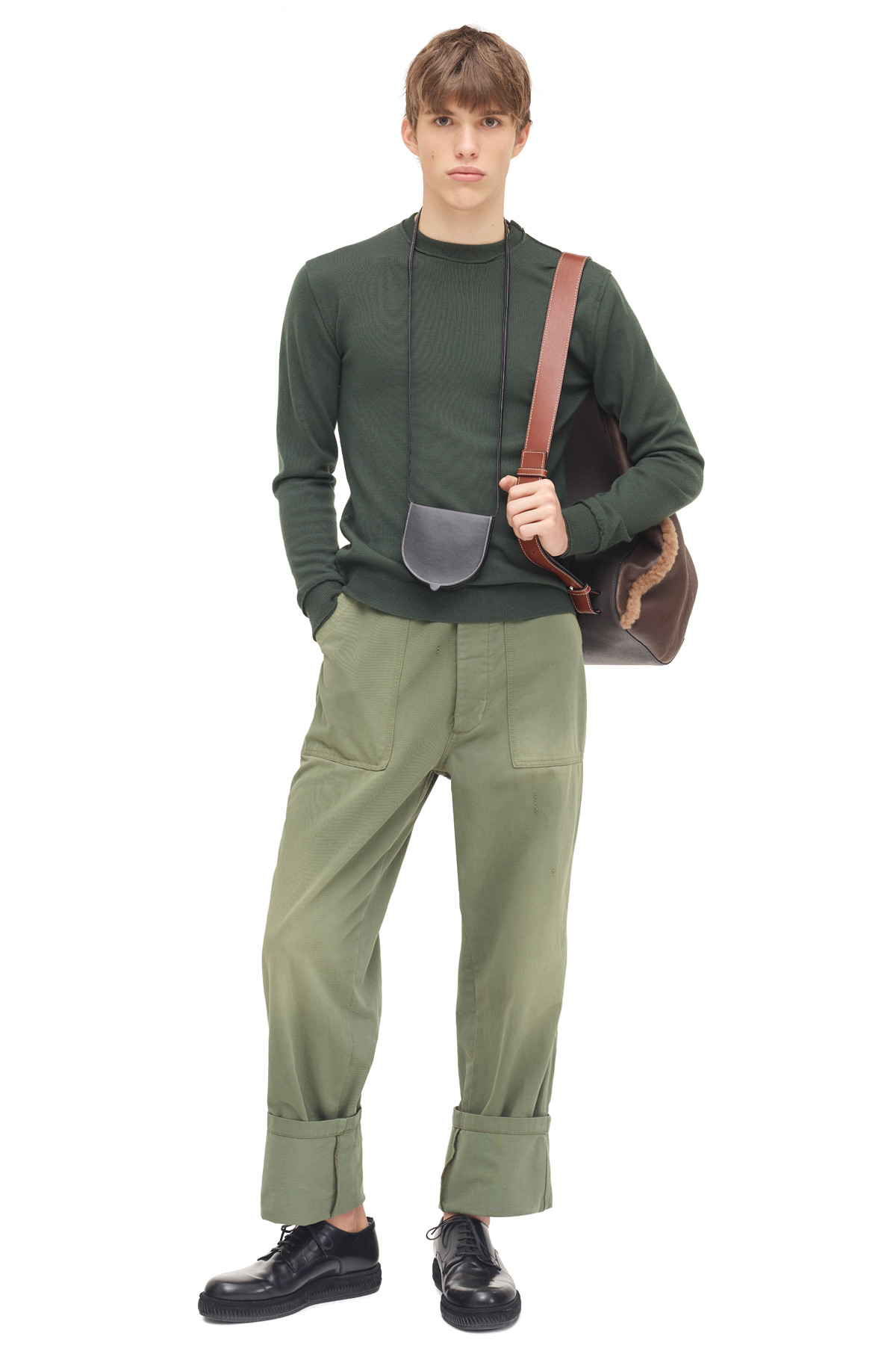 LOEWE Patch Pocket Trousers Khaki Green front