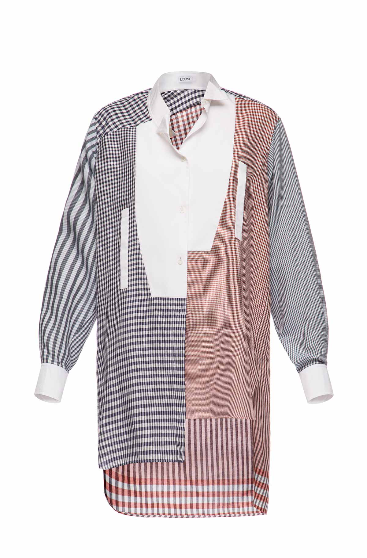 LOEWE Asymmetric Shirt Gingham Multicolor front