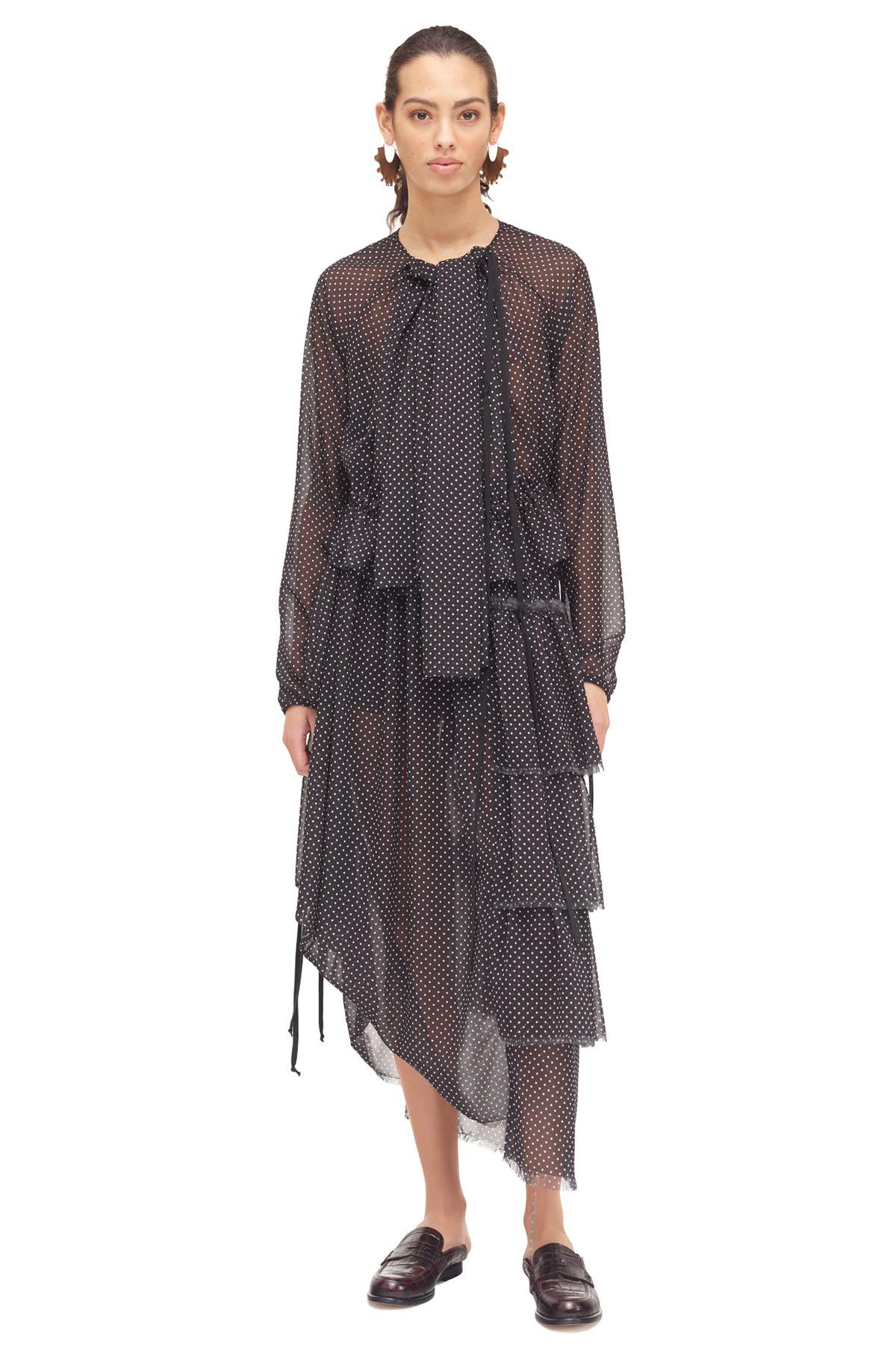 LOEWE Long Ruffle Skirt Negro/Blanco front