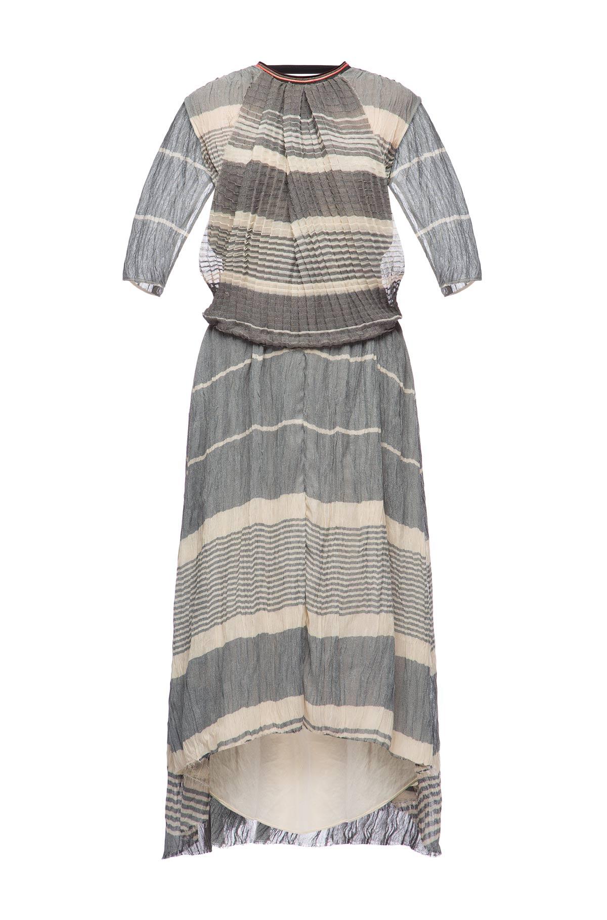 LOEWE Allover Pleated Dress V Back ブラック/ホワイト front
