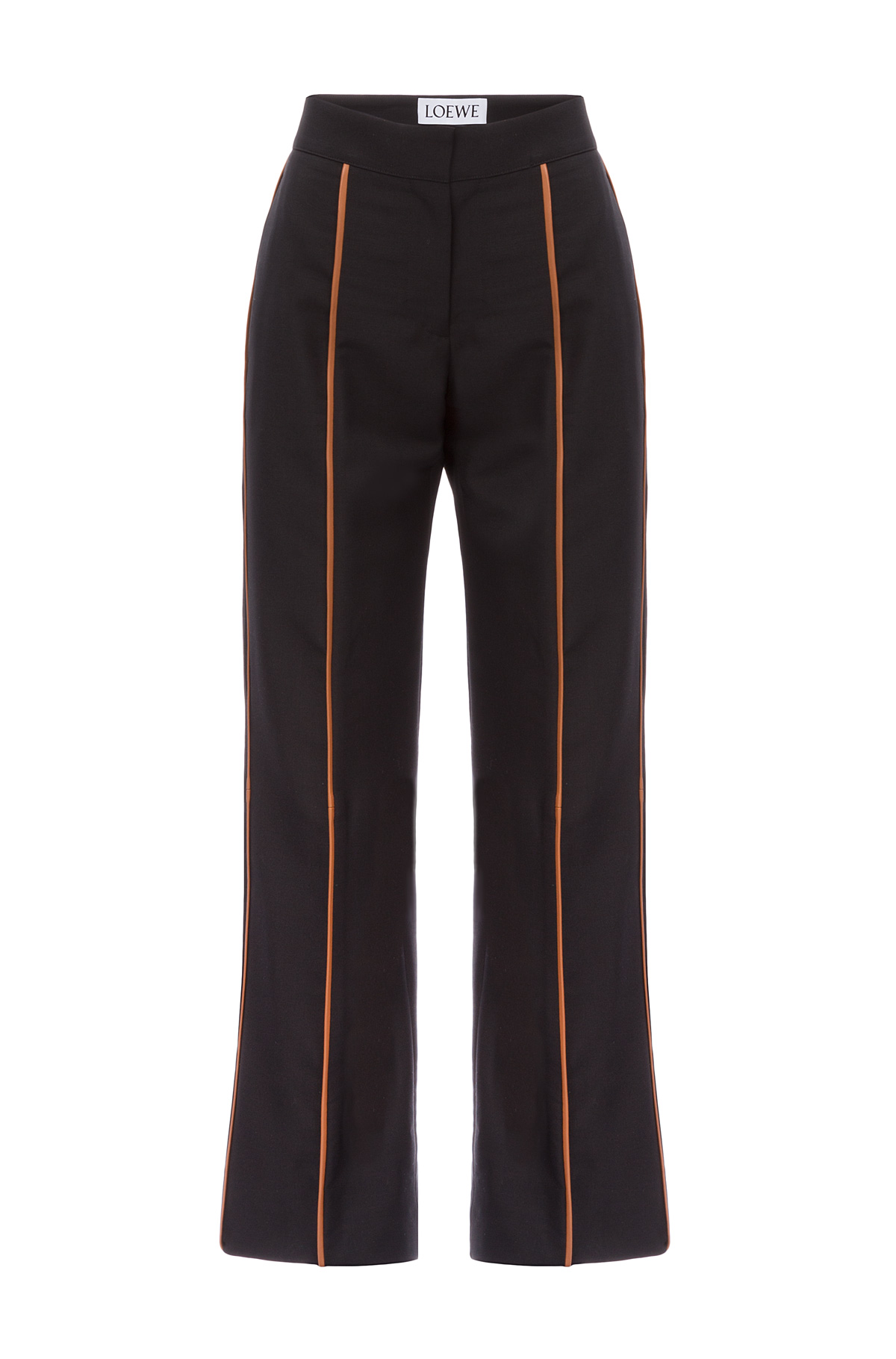 LOEWE Tan Piping Cropped Trousers Black/Tan front