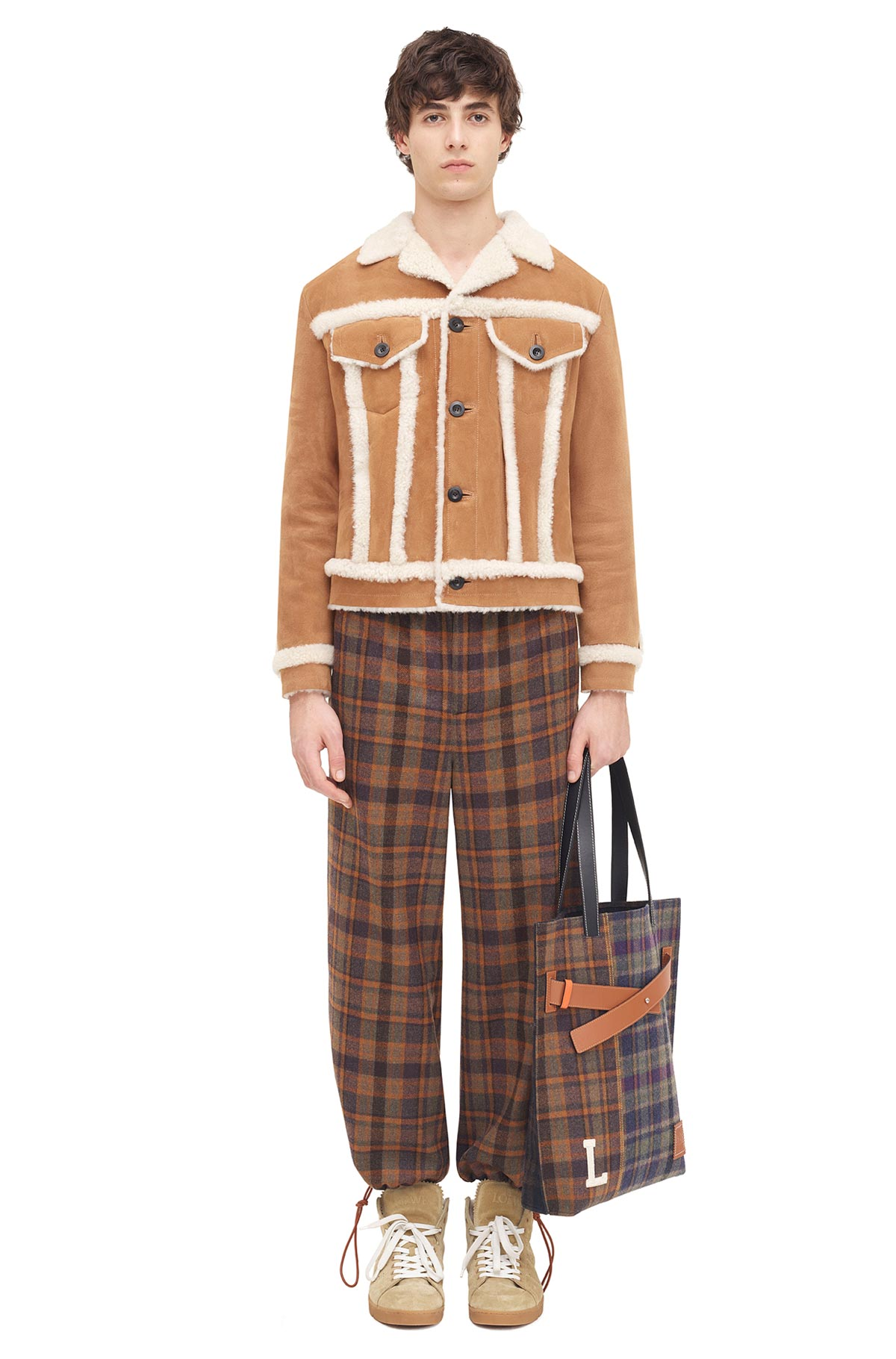 LOEWE Drawstring Check Trousers Brown/Multicolor front