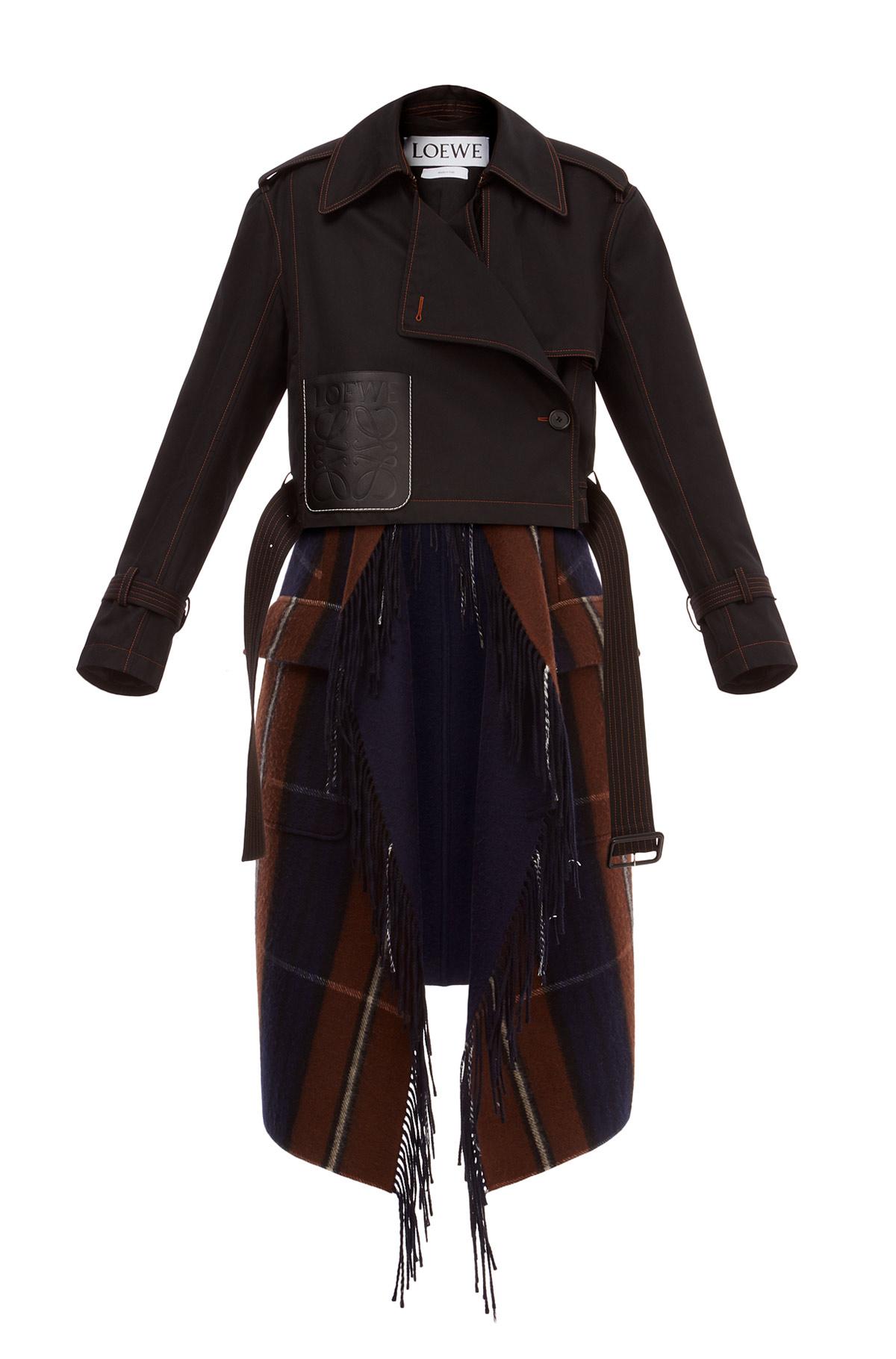 LOEWE Blanket Trenchcoat 黑色/巧克力色 front