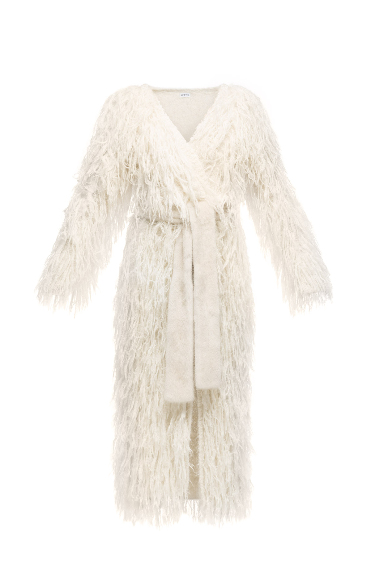 LOEWE Handknitted Belted Coat Off-White front