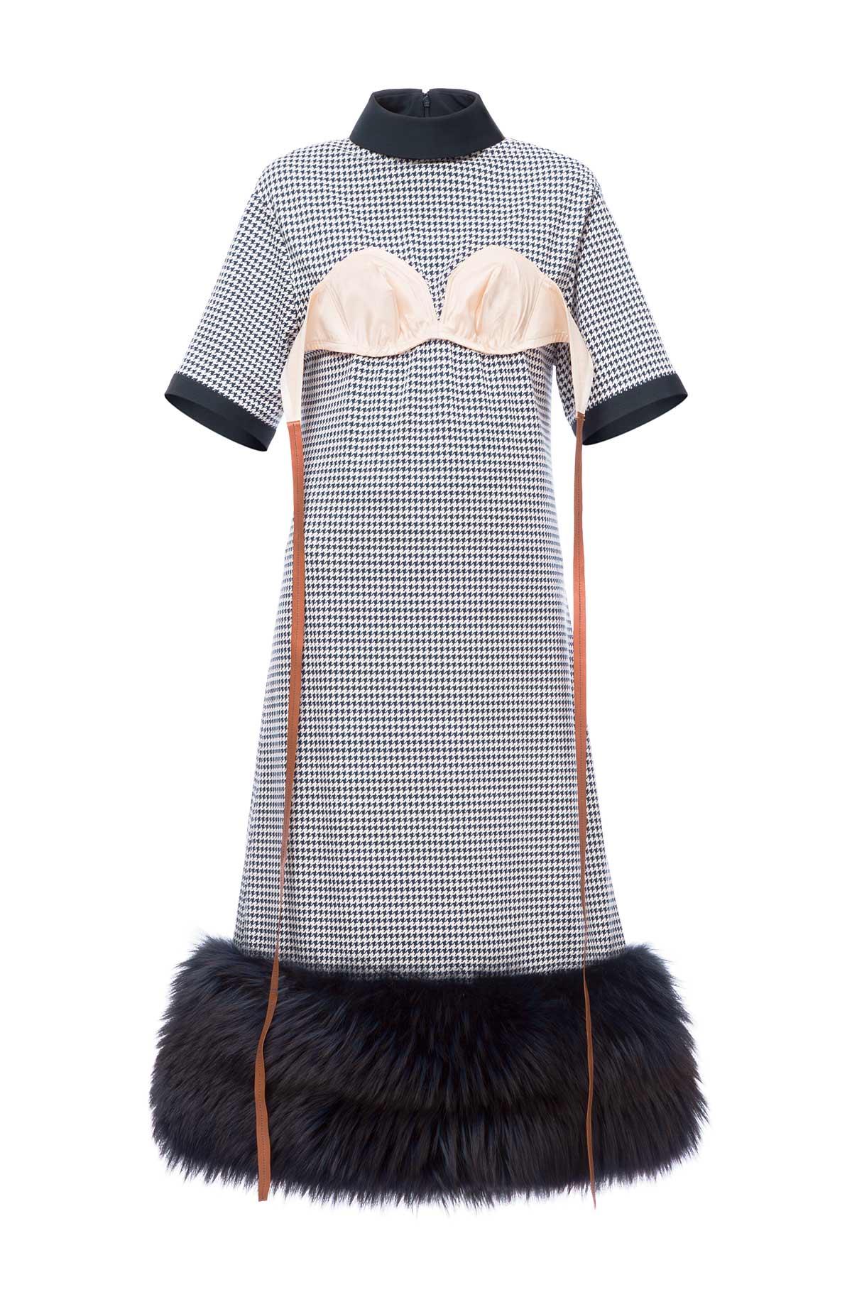 LOEWE Shearling Trim Bra Dress Navy/White front