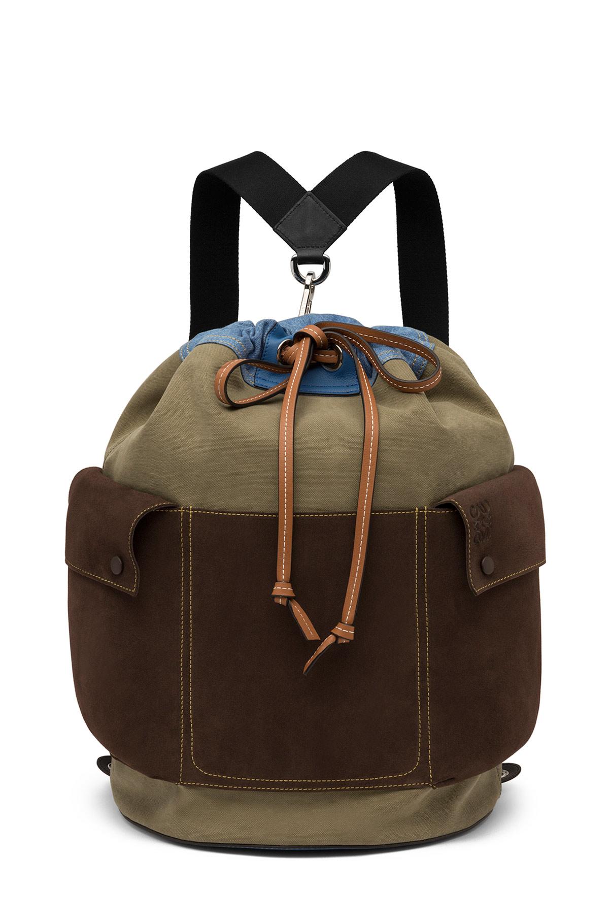 LOEWE Reversible Backpack Khaki Gr/Choc Brown/Blue Denim front