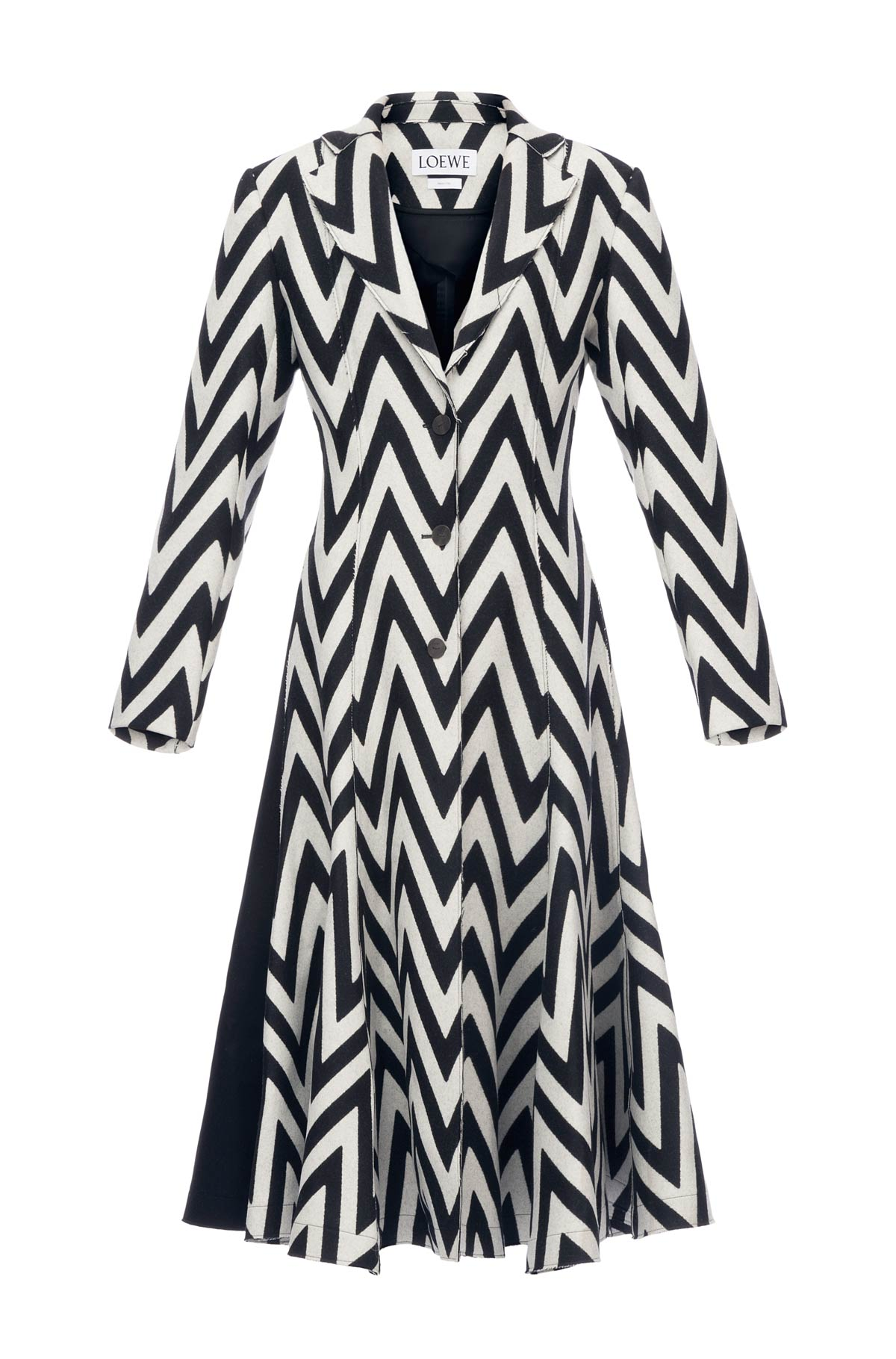 LOEWE Herringbone Wool Coat Negro/Blanco front
