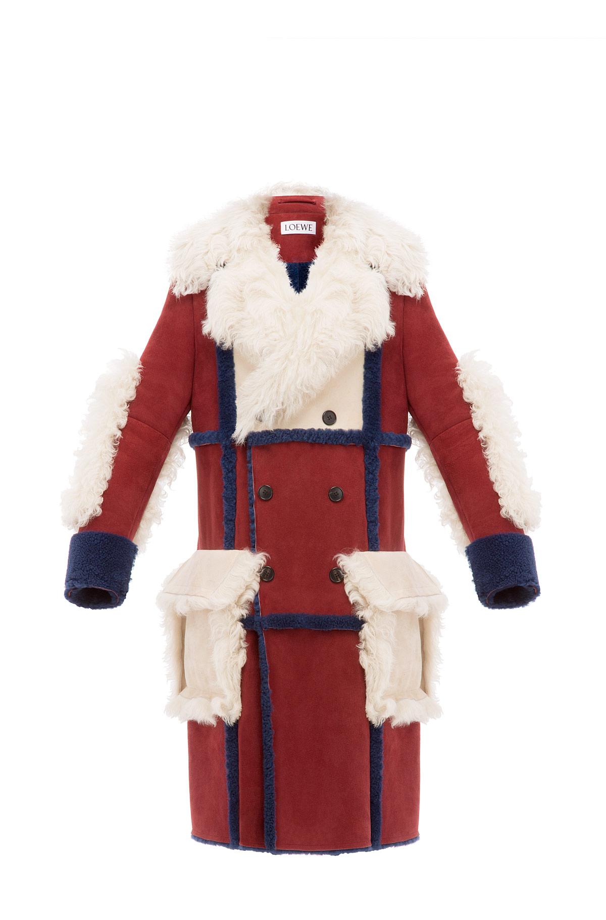 LOEWE Shearling Coat 酒红色 front